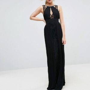 TFNC Tall High Neck Embellished Maxi Dress With Lace Insert - Liyanah