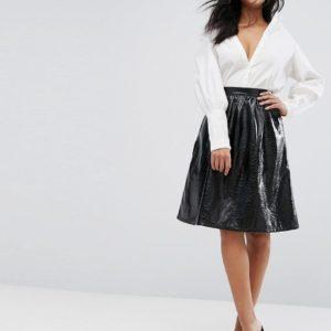 Vero Moda Vinyl Skater Black Skirt - Liyanah