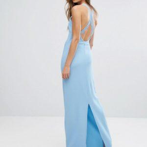 Club L Lace Back Detail Skyway Blue Maxi Dress - Liyanah