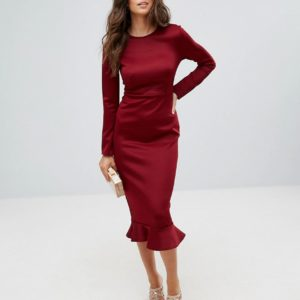 Club L Office Long Sleeve Detailed Dress With Peplum Frill Hem Bodycon Midi Dress - Liyanah
