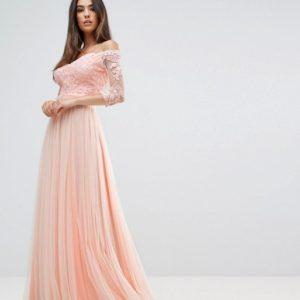 Forever Unique Bridesmaid Bardot 3-4 Sleeve Pink Maxi Dress - Liyanah