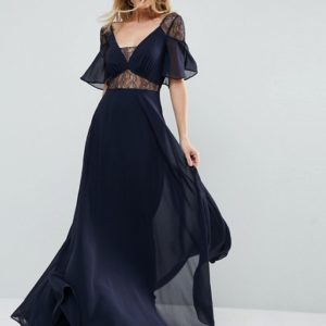 ASOS Blue Lace Insert Flutter Sleeve Maxi Dress - Liyanah