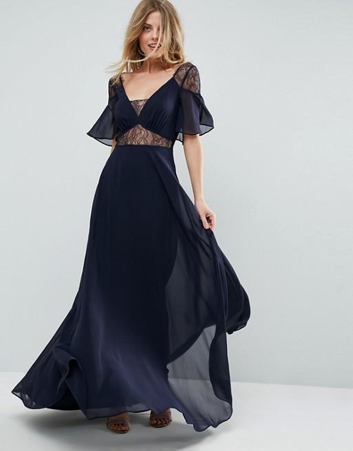 ASOS Blue Lace Insert Flutter Sleeve Maxi Dress - Liyanah