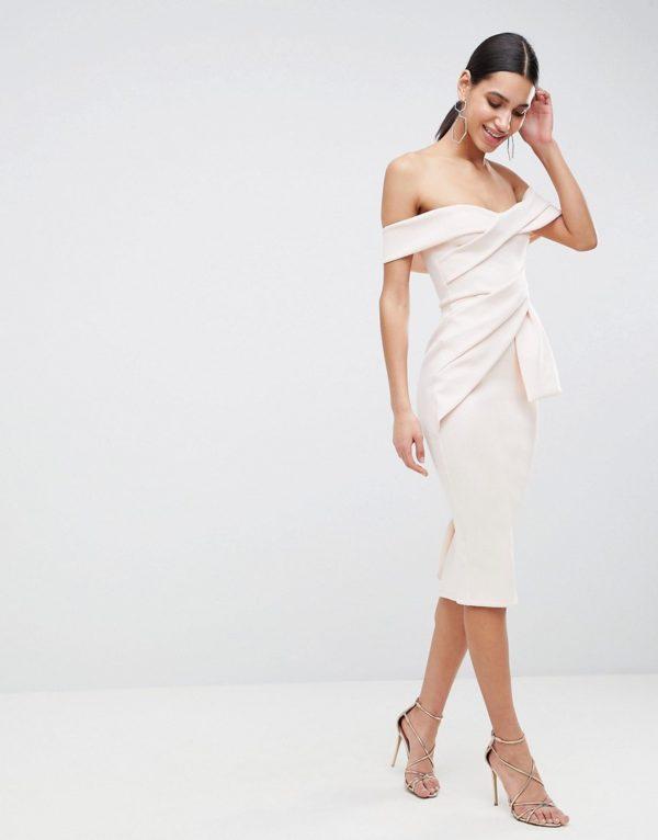ASOS DESIGN Bardot Fold Wrap Front Midi Pencil Dress - Liyanah