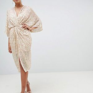 ASOS DESIGN Midi Plunge Embellished Nude Kimono Dress - Liyanah