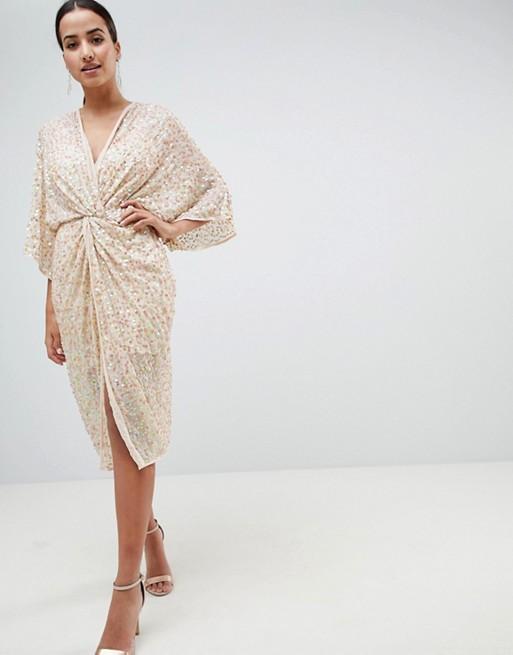 ASOS DESIGN Midi Plunge Embellished Nude Kimono Dress - Liyanah