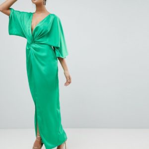 ASOS Kimono Twist Front Maxi Green Dress - Liyanah.co