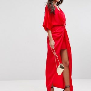ASOS Kimono Twist Front Red Maxi Dress - Liyanah