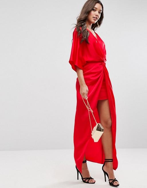ASOS Kimono Twist Front Red Maxi Dress - Liyanah