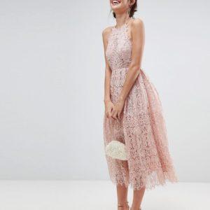 ASOS Pink Lace Pinny Scallop Edge Midi Prom Dress - Liyanah