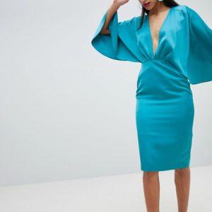 ASOS Satin Cape Kimono Sleeve Deep Plunge Blue Midi Dress - Liyanah