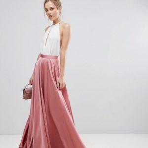 ASOS Satin Pink Maxi Skirt with Centre Front Split - Liyanah