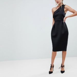 ASOS Scuba One Shoulder Tulip Black Prom Dress - Liyanah.co