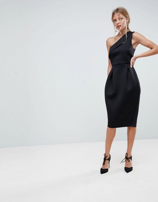 ASOS Scuba One Shoulder Tulip Black Prom Dress - Liyanah.co