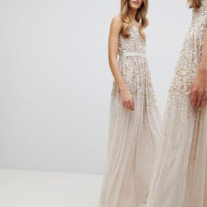 Amelia Rose Embellished Ombre Sequin Cami Strap Maxi Dress - Liyanah