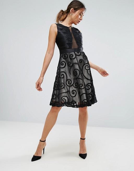 Amy Lynn Black Prom Dress With Brocade Detail - Liyanah