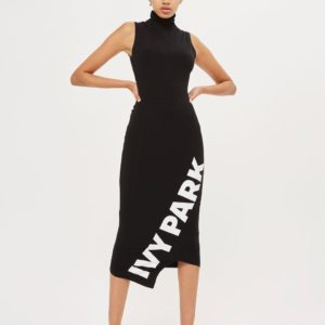 Asymetric Logo Midi Bodycon Dress by Ivy Park - Liyanah