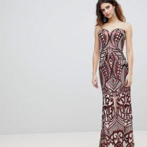 Bariano Embellished Bandeau Red Maxi Dress - Liyanah