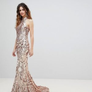 Bariano High Neck Embellished Rose Gold Sequin Maxi Dress - Liyanah