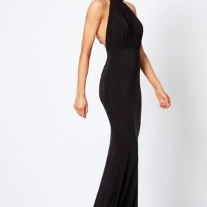 Black Backless Halter Neck Fishtail Maxi Dress by Club L - Liyanah