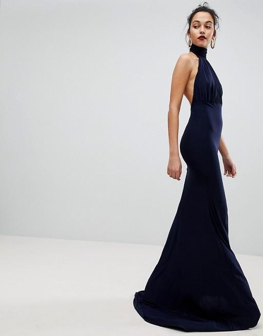 Club L Bridesmaid Halterneck High Neck Fishtail Maxi Dress - Liyanah