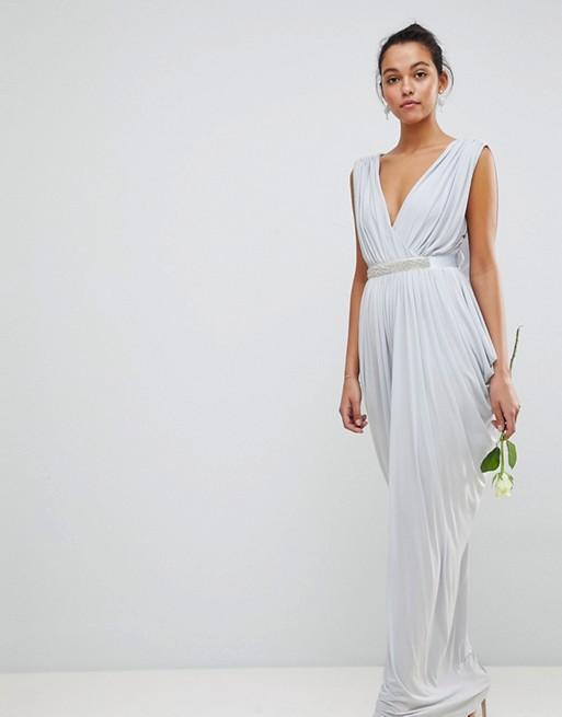 Club L Bridesmaid Wrap Over Draped Maxi Dress Diamonte Belt - Liyanah