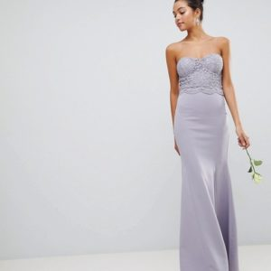 Club L Crochet Scalloped Bandeau Fishtail Grey Maxi Dress - Liyanah