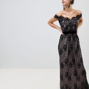 Little Mistress Black Nude Lace Maxi Dress - Liyanah