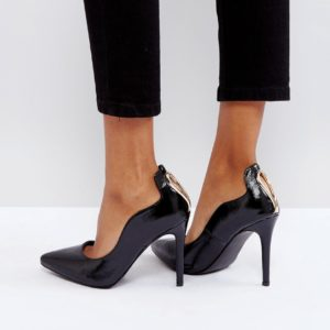 Little Mistress Black Patent Point High Heels - Liyanah