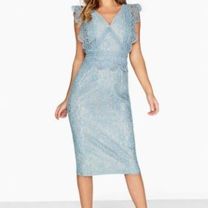 Little Mistress Blue Pearl Lace Bodycon Dress - Liyanah