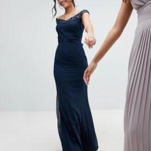 Maya Tall Bardot Sequin Detail Maxi Dress With Bow Back Detail - Liyanah