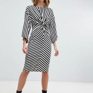 River Island Twist Front Stripe Kimono Sleeve Dress - Liyanah