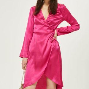 Topshop Satin Kimono Robe Pink Wrap Dress - Liyanah