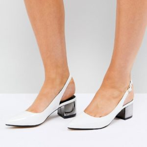 Truffle Collection White Slingback Mid Heel Shoe - Liyanah