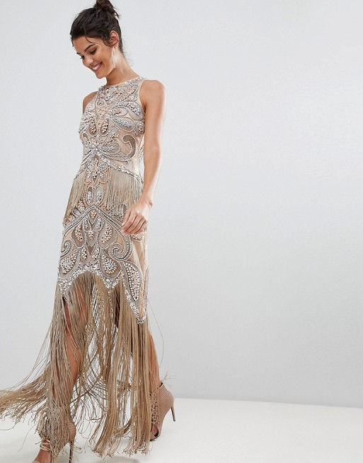 A Star Is Born Luxe All Over Jewel Embellished Nude Maxi Dress With Beaded Tassel Hem - Liyanah