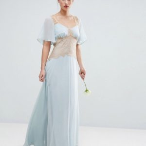 ASOS DESIGN Bridesmaid contrast lace panel blue maxi dress - Liyanah