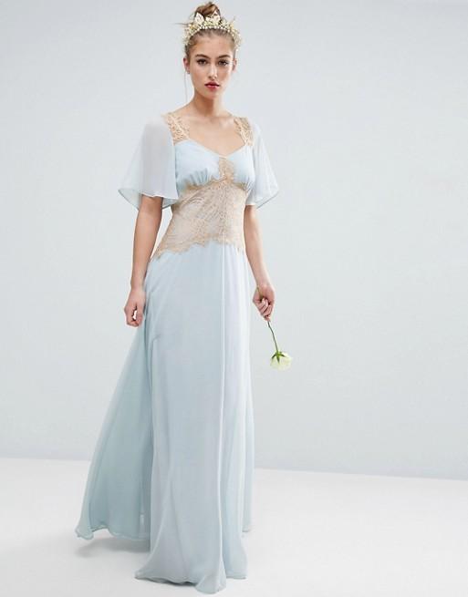 ASOS DESIGN Bridesmaid contrast lace panel blue maxi dress - Liyanah