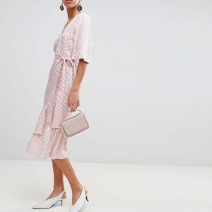 ASOS Jacquard Kimono Sleeve Wrap Pink Midi Dress - Liyanah