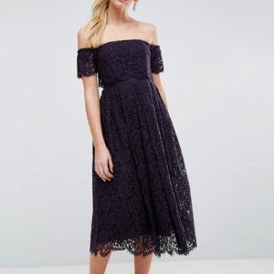 ASOS Off the Shoulder Lace Prom Navy Blue Midi Dress - Liyanah