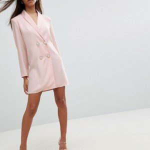 ASOS PETITE Mini Tux Nude Pink Dress with Pearl Buttons - Liyanah