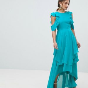 ASOS Ruffle Sleeve Cut Out Back Turquoise Maxi Dress - Liyanah