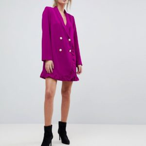 ASOS Ruffle Tux Mini Purple Pink Dress with Pearl Buttons - Liyanah