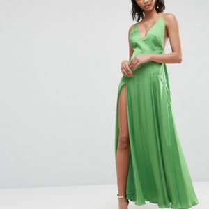 ASOS ULTIMATE Cami Thigh Split Green Maxi Dress - Liyanah