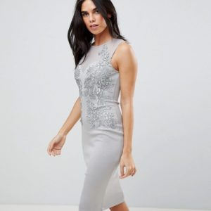 Ax Paris Applique Detial Scuba Grey Bodycon Dress - Liyanah