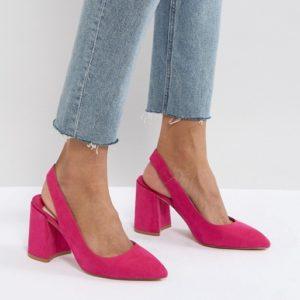 Faith Chunky Slingback Pink Block Heeled Shoes - Liyanah