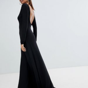 Fashionkilla Open Back Black Maxi Dress With Thigh Split - Liyanah