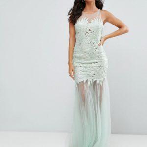Forever Unique Lace Insert Mint Maxi Dress - Liyanah