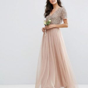 Maya V Neck Maxi Tulle Taupe Nude Pink Dress with Tonal Delicate Sequins - Liyanah