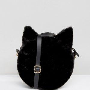 Monki Cat Faux Fur Cross Black Body Bag - Liyanah