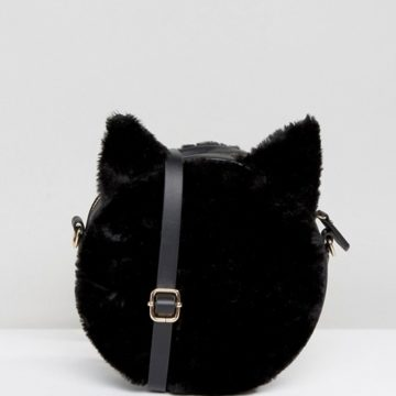 Monki Cat Faux Fur Cross Black Body Bag - Liyanah